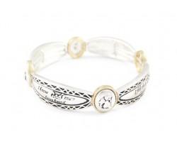 Two Tone Angel Prayer Oval Stretch Bracelet