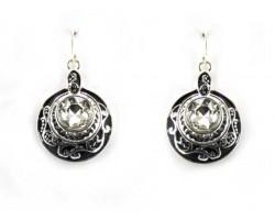 Silver Round Filigree Crystal Hook Earrings