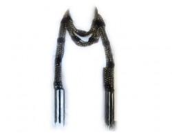 Black Crochet Gold Beaded Scarf