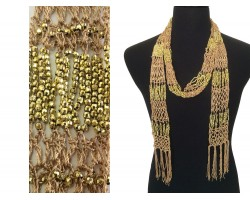 Gold Crochet Gold Beaded Scarf