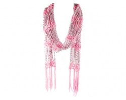 Light Pink Crochet Silver Beaded Scarf