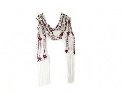 Maroon White Crochet Silver Beaded Scarf