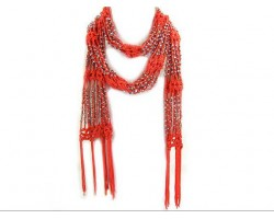 Orange Crochet Silver Beaded Scarf
