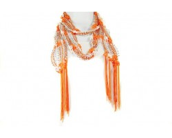 Orange White Crochet Silver Beaded Scarf