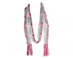 Pink Shades Crochet Silver Beaded Scarf