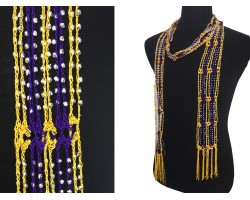 Purple Yellow Crochet Silver Beaded Scarf