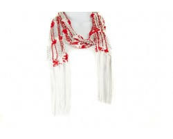 Red White Crochet Silver Beaded Scarf