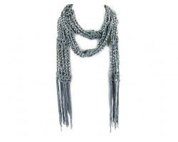 Silver Crochet Silver Beaded Scarf