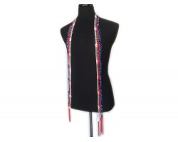 Red White Blue Crochet Silver Beaded Scarf