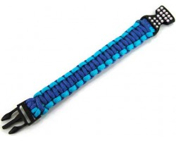 Blue & Turquoise Survival Paracord Braided Bracelet Crystal