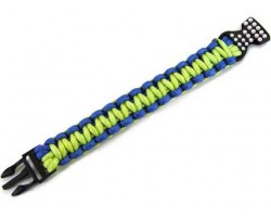 Green & Blue Survival Paracord Braided Bracelet Crystal