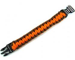 Orange & Brown Survival Paracord Braided Bracelet Crystal