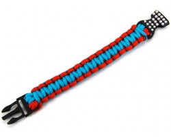 Turquoise & Red Survival Paracord Braided Bracelet Crystal