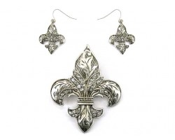 Matte Antique Silver Fleur De Lis Pendant Set with Leaf & Crystals