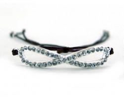Brown Macrame Silver Plate Infinity Symbol Charm Crystal Bracelet