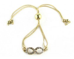 Crystal Gold Plate Infinity Double Snake Chain Beads Bracelet