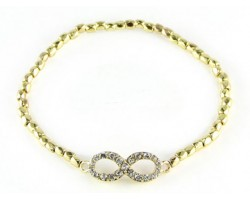 Gold Beaded with Crystal Infinity Stretch Bracelet