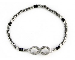 Hematite Beaded with Crystal Infinity Stretch Bracelet
