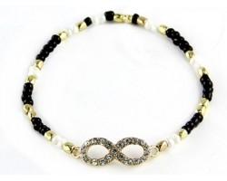 Jet & Gold Beaded with Crystal Infinity Stretch Bracelet