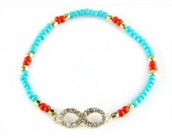 Turquoise Beaded with Crystal Infinity Stretch Bracelet
