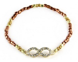Two Tone Beaded with Crystal Infinity Stretch Bracelet