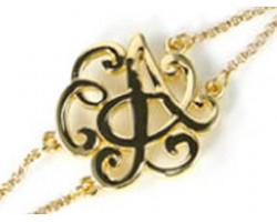 Gold Plate Cursive Initial Double Chain Bracelet