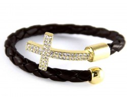 Black Leather Wrap Cuff Crystal Gold Cross Bracelet