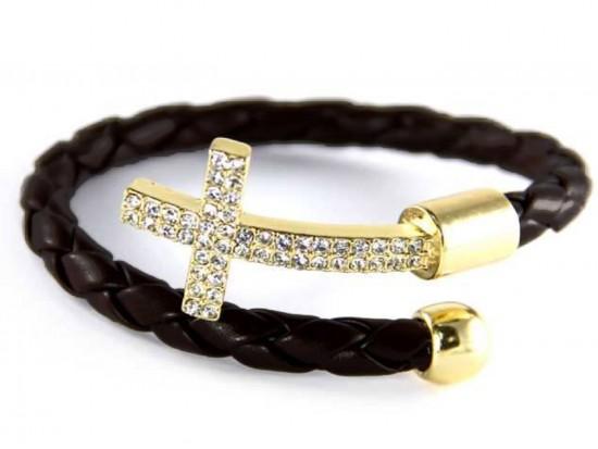 Black Leather Wrap Cuff Crystal Gold Cross Bracelet