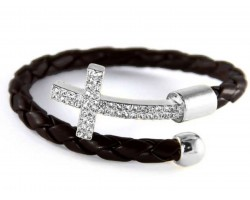 Black Leather Wrap Cuff Crystal Silver Cross Bracelet