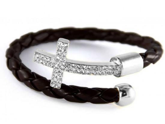 Black Leather Wrap Cuff Crystal Silver Cross Bracelet