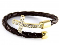 Brown Leather Crystal Gold Cross Wrap Cuff Bracelet