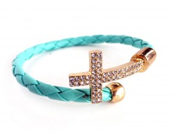Turquoise Leather Crystal Gold Cross Wrap Cuff Bracelet