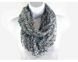 Black White Gray Lightweight Confetti Knit Infinity Scarf