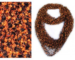Orange Black Confetti Knit Infinity Scarf