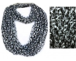 Black & Silver Lightweight Confetti Knit Infinity Scarf