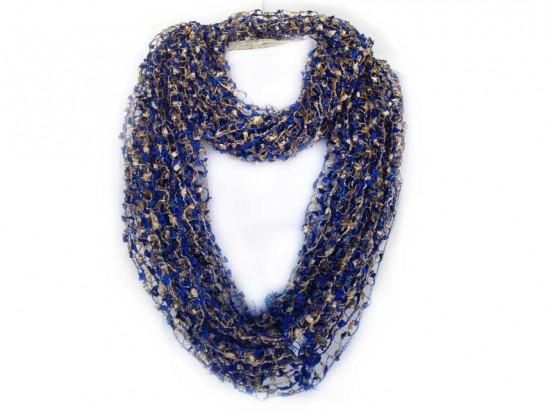 Blue & Gold Lightweight Confetti Knit Infinity Scarf