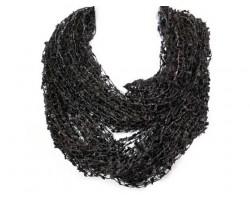 Black Lightweight Confetti Knit Infinity Scarf