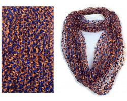 Blue Orange Confetti Knit Infinity Scarf