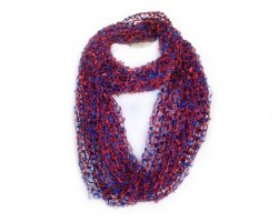 Blue & Red Lightweight Confetti Knit Infinity Scarf