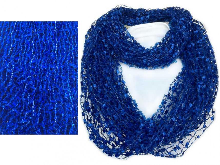 Knitting Pattern Lightweight Scarf : Blue Lightweight Confetti Knit Infinity Scarf - MA26791BLU