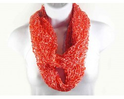 Coral Lightweight Confetti Knit Infinity Scarf