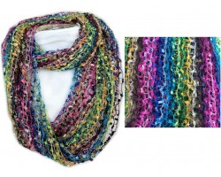 Dark Multi Lightweight Confetti Knit Infinity Scarf