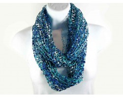 Green Blue Lightweight Confetti Knit Infinity Scarf