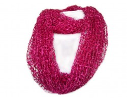 Hot Pink Lightweight Confetti Knit Infinity Scarf