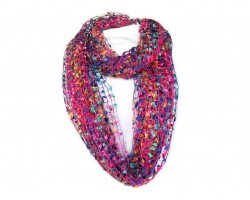 Hot Pink Multi Lightweight Confetti Knit Infinity Scarf
