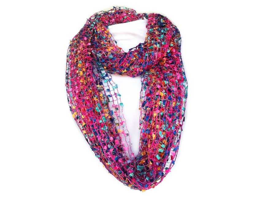 this purple the and mulberry acrylic neck slipping it product color pink hang by head scarf is a yarn single in infinity worn allowing loop your around over to