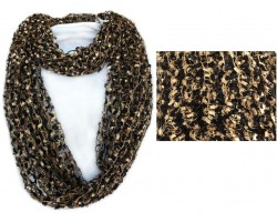 Gold & Black Lightweight Confetti Knit Infinity Scarf