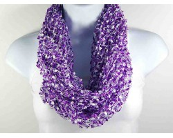 Purple & White Lightweight Confetti Knit Infinity Scarf
