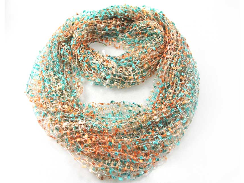 Coral Turquoise Lightweight Confetti Knit Infinity Scarf