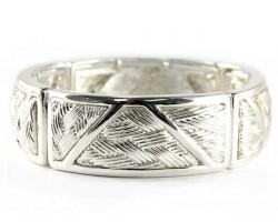 Silver Woven Pattern Stretch Bracelet
